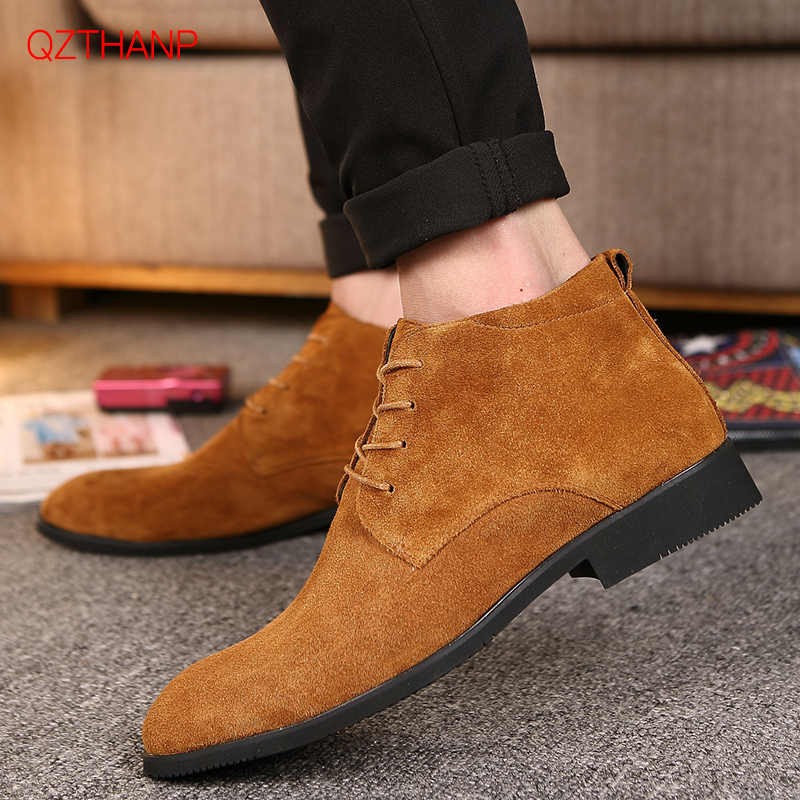 Casual Suede Men Shoes Oxford Krasovki Moccasins Shoes Fashion Black Chelsea Flats Slip-on Waterproof Ankle Boots hombres botas