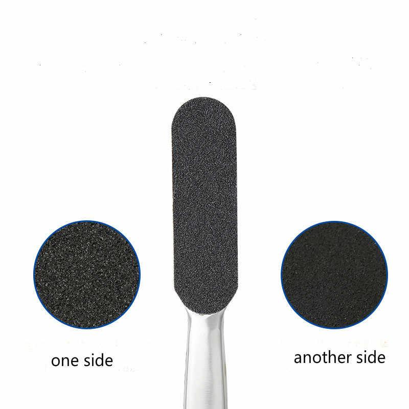 Pedicure do usuwania zgrubień stopa ze stali nierdzewnej zgrzyt plik 10 dwustronna wymiana grys Pad łatwe pięty Scrubber narzędzie do pielęgnacji stóp