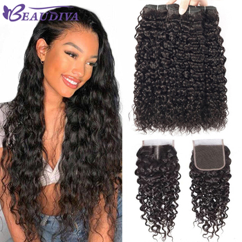 Beaudiva Hair Water Wave Bundles With Closure Curly Brazilian Human Mink Weave