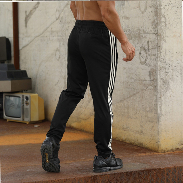 Gym Men's Sport Running Pants Stripes Zipper Pockets Training Pants Workout Athletic Football Soccer Gym Pants Men Sweatpants 5