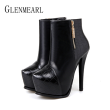 Women Platform Ankle Boots Female Winter Shoes Thin  Heels Zip Fashion High Heels Women Shoes Warm Boots Casual Shoes 2019 New недорого