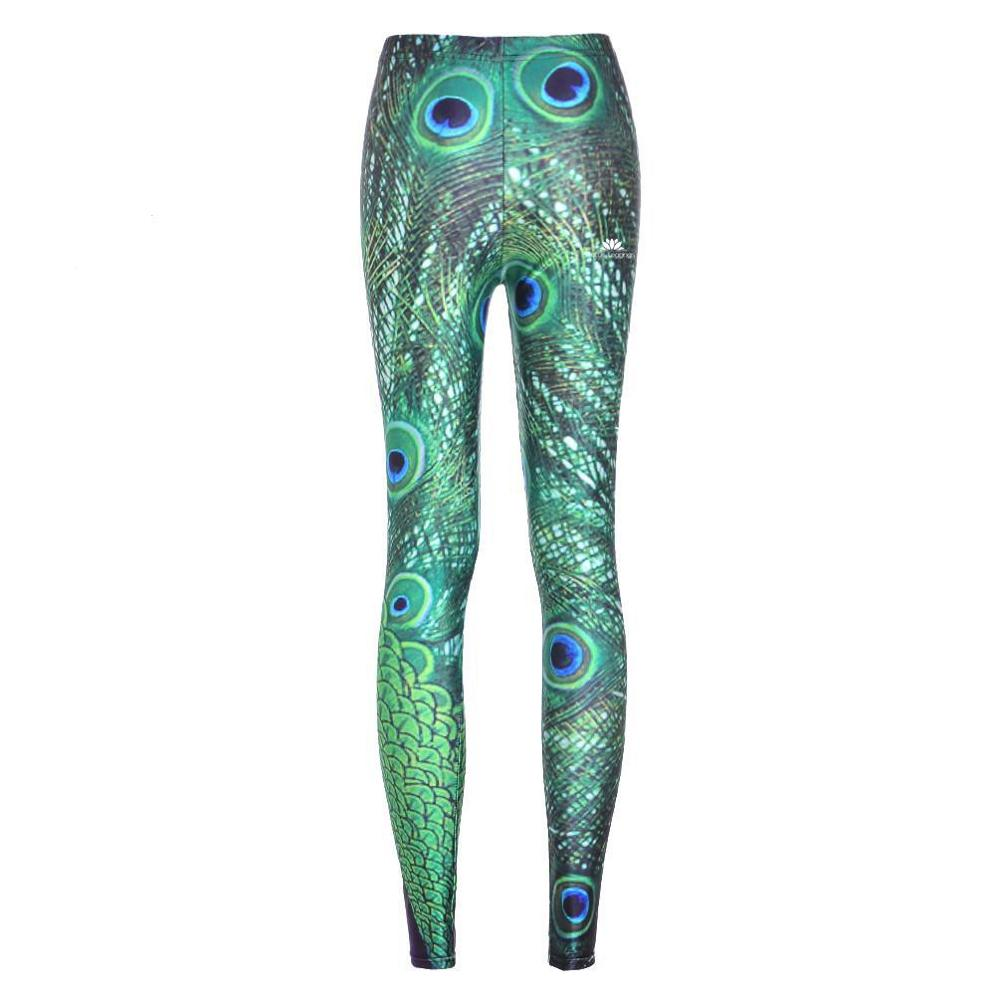 fashion legging polyester breathable leggings Peacock Feathers Pattern pant 3605