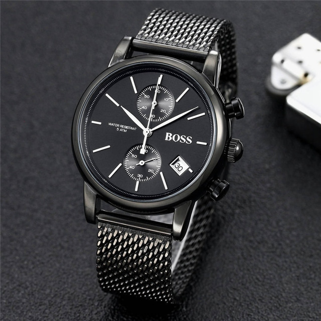 BOSS Watch Luxury Fashtion Mens Watches 40mm Quartz Stopwatch All Function Relogio All Pointers Work Deisgner Waterproof Man
