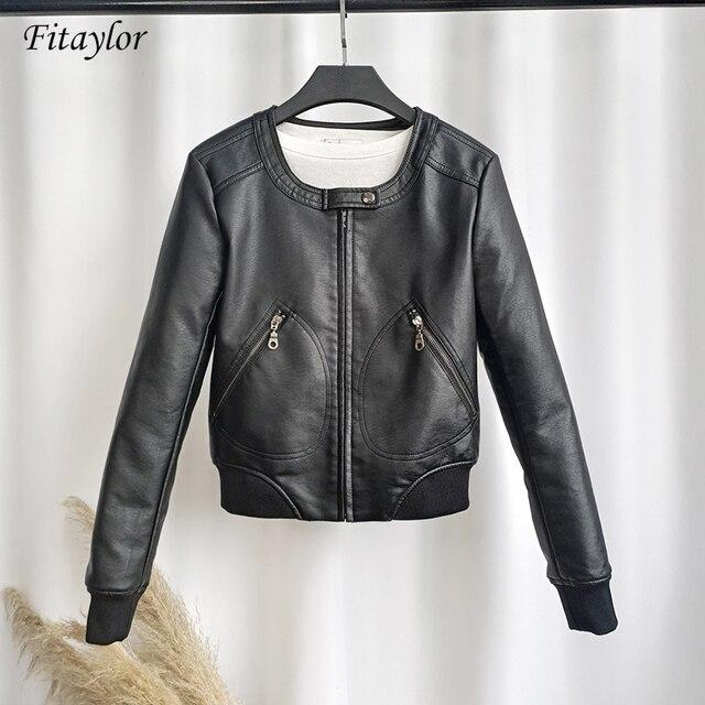 Fitaylor Faux Leather Jacket Women O-neck Casual Biker Jackets Female Motorcycle Coat Plus Size 4XL Soft PU Basic Black Outwear 1