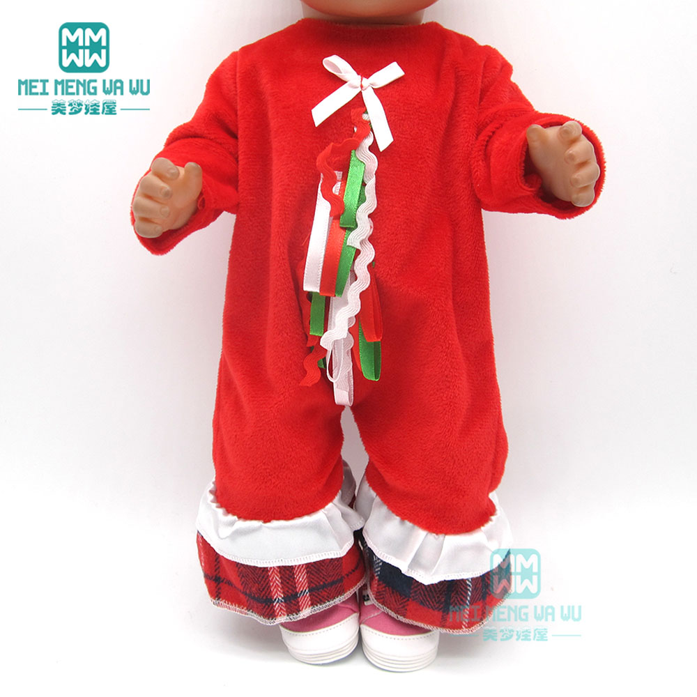 Doll Clothes For 43cm Baby New Born And American Doll Christmas Crawl Clothes, Girl Dress, Shoes
