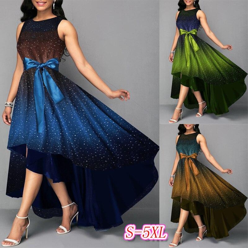 BacklakeGirls Shining Star Sky Printing Gradient Color Sleeveless Sash Bow Irregular Long Evening Dress Galajurken Lang Dames