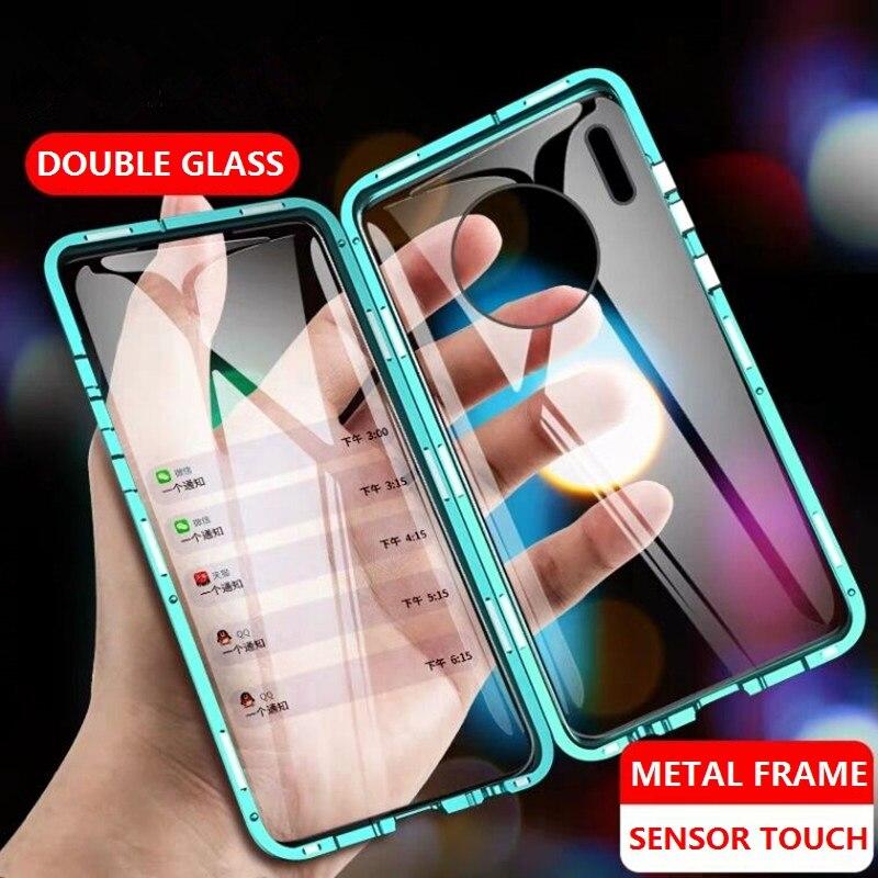 Étui pour huawei magnétique Mate 30 Pro Mate 20 P30 P20 Lite 10 Honor 8X 9X P Smart Z 2019 couvercle Double face en verre trempé eémie