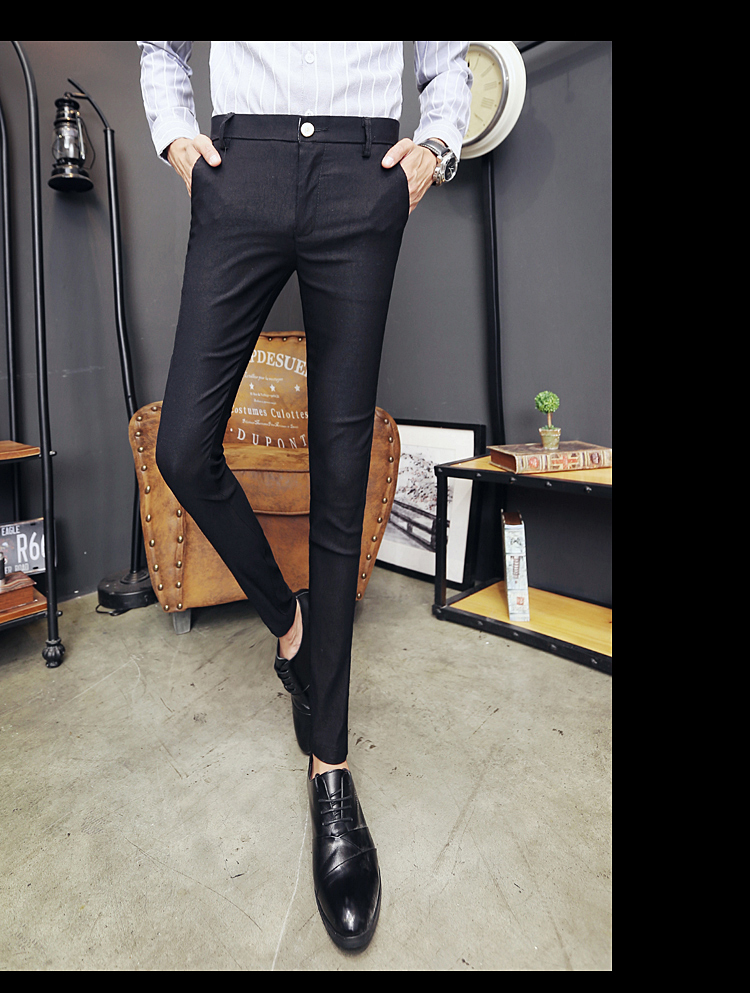 2020 New Pantalon Homme Korean Fashion Solid Pants Men Slim Fit Casual Elastic Streetwear Suit Pant Long Trousers Men Clothing 15