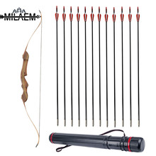 60 inch Wooden Recurve Bow 20/25/30/35/40/45/50/55 lbs Maple Laminated Archery Takedown With 12 Pcs Fiberglass Arrows Set