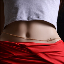 Seaside sexy bikini waist chain alloy letter LOVE beach yoga belly dance body chain Bohemia Body Jewelry belly chain For women graceful exaggerated alloy multilayered body chain for women