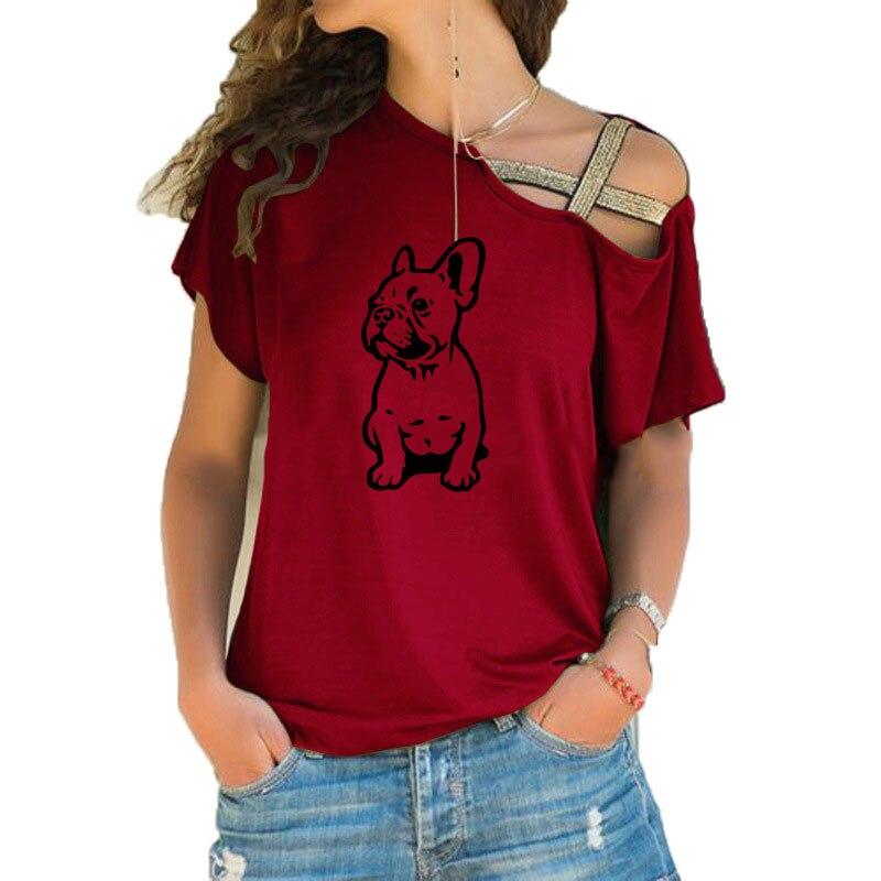 Camiseta francesa de algodão para mulheres, camiseta