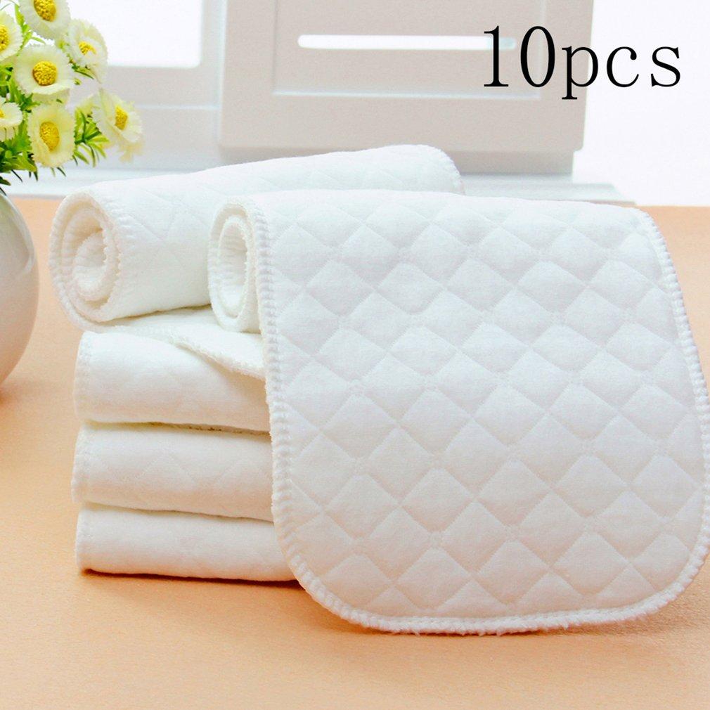Cotton 10pcs/set Soft Breathable Reusable Pure Cotton Baby Cloth Diaper Nappy Liners Insert 3 Layers