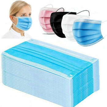 In Stock! 100 Pcs Disposable Mondmasker Earloop Face Mouth Masks Mouth Mask Non-woven Melt Blown 3-layer Mascarilla mascarilas image