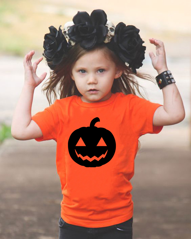 T-Shirt Pumpkin Orange Halloween Tops Short-Sleeve Ghost Toddler Girls Baby Boys Kids