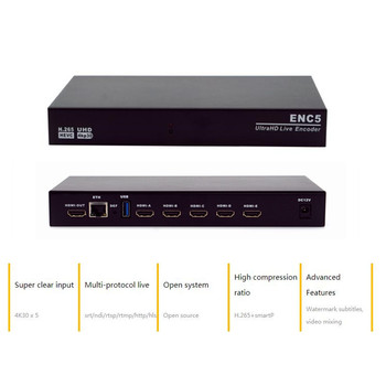 цена на New 5 Channel 4K HDMI Encoder H.265 UHD Live Encoder HVEC RTMP SRT