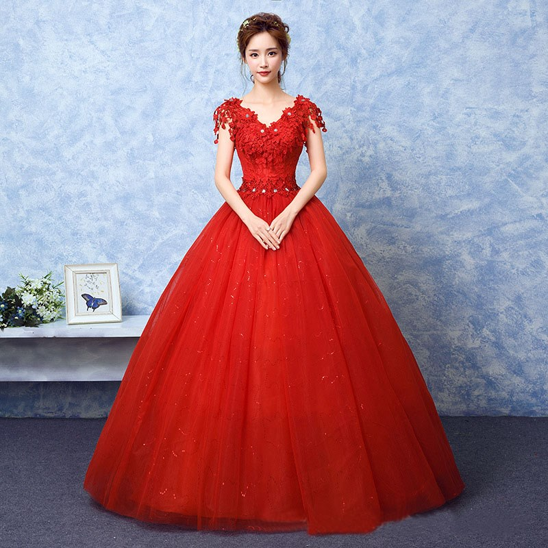 2021 Wedding Dress The Red V neck Ball Gown Vintage Wedding Dresses Lace Embroidery Vestido De Noiva F