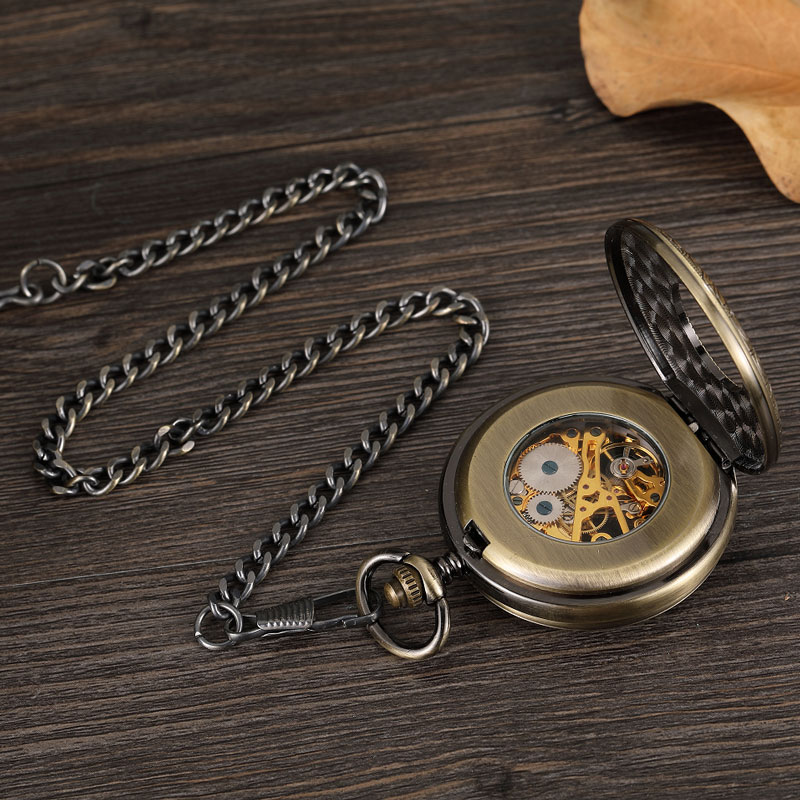 Vintage Exquisite Carving Roman Dial Mechanical Pocket Watch Chain Men Double-sided Hollow Skeleton Steampunk Pocket Watch Gift