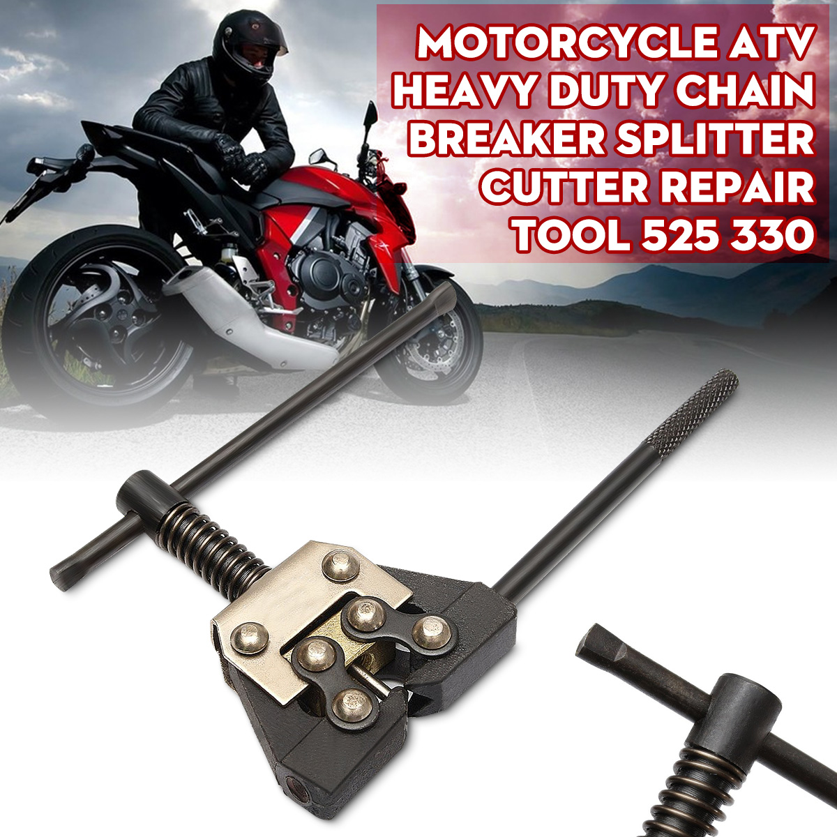 Motorcycle ATV Heavy Duty Chain Breaker Splitter Cutter Repair Tool 525 330
