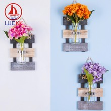 LUCKK Terrarium Hydroponic Plant Vases Vintage Flower Pot Transparent Vase Wooden Frame Wall Hanging Light Decor For Living Room(China)
