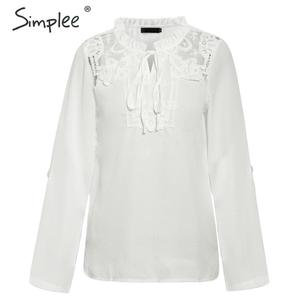 Image 4 - Simplee Elegant lace up chiffon blouse women Ruffled lace embroidery female shirts Long sleeve autumn winter ladies white tops