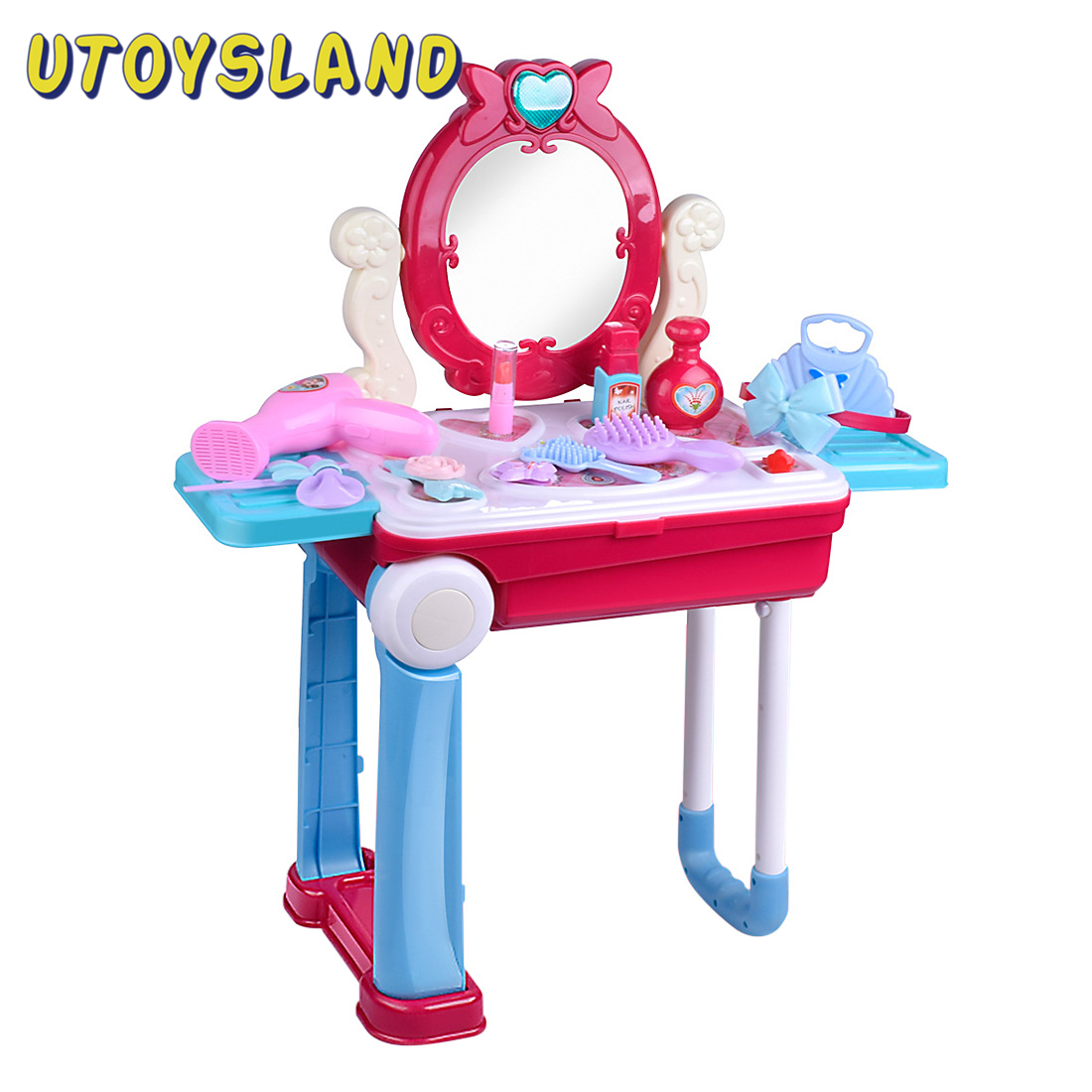 14Pcs Children Makeup Pretend Playset Dressing Table Suitcase Toys With Light And Sound Beauty Pretend Play Toys Birthday Gift