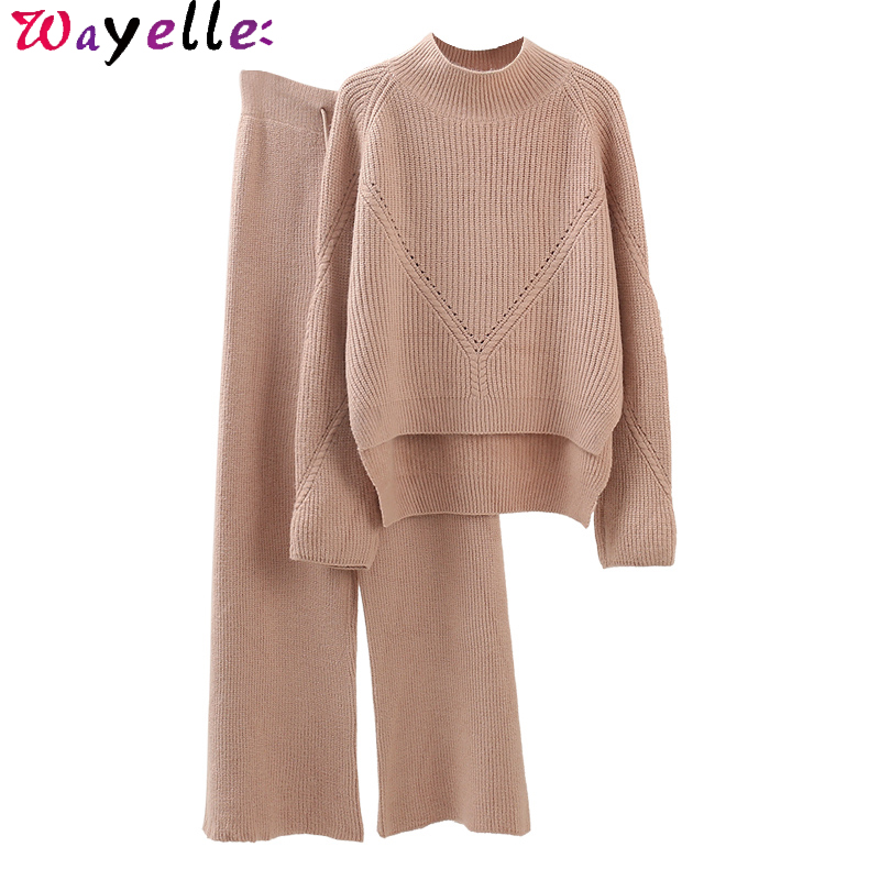 Chic Knitted Sweater + Wide Leg Pant Suits Women 2 Pieces Sets Autumn Winter Elegant Thicken Warm Women Two Piece Outfits