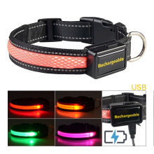 Adjustable Nylon LED Glowing Dog Collar USB Rechargeable Night Safety Flashing Reflective Collars for Small Medium Large Dog adjustable 2 mode led flashing dog collar belt orange