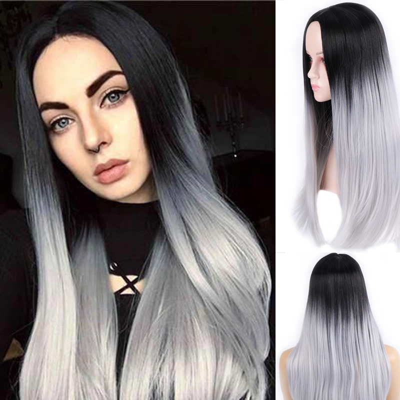 AOOSOO Long Ombre  Straight Synthetic Wigs For White Women Black Pink Wigs 12 Color  Cosplay Wigs