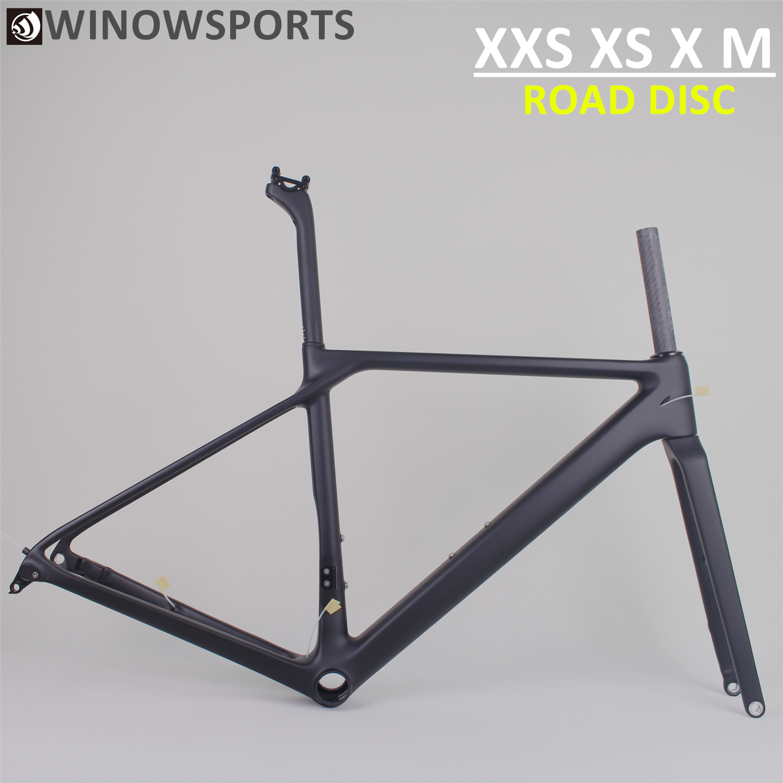 Winowsports 2020 New Road 700c Disc Brake 12*100mm/12*142mm Thru Axle BB86 Press Fit Carbon Bike Gravel Disc Frame Max Tyre 25mm