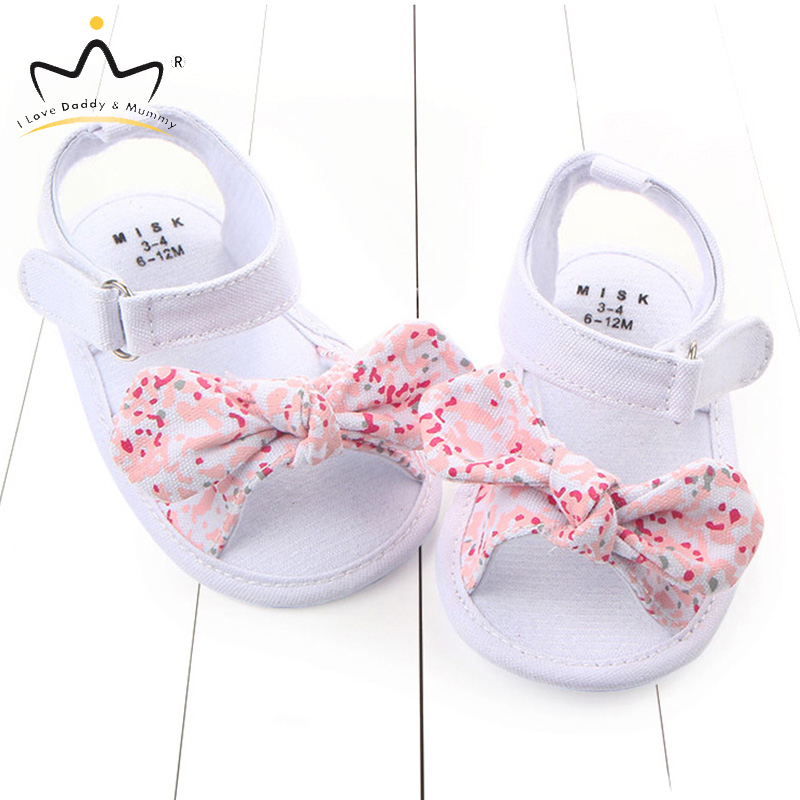 Summer New Baby Girl Sandals Soft Cotton Floral Toddler Girls Shoes Cute Bows Princess Baby Girl Sandals