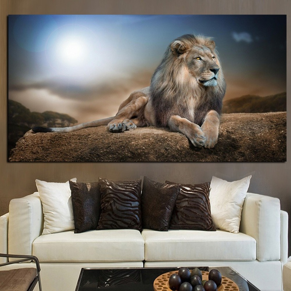 Mighty Lion Animal Landscape Home Decoration Canvas Painting Male Lion Posters Living Room Hotel Wall Art Painting Pictures