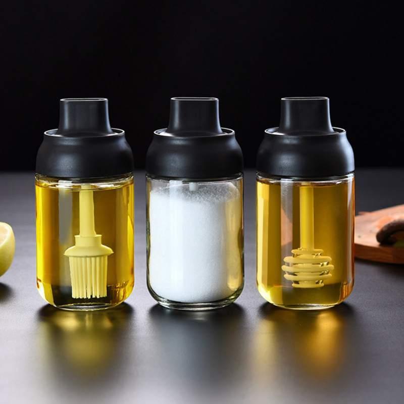 Glass Transparent Seasoning Bottle Condiment Pots Kitchen Salt Spice Jar With Spoon Moisture-Proof Honey Jar lt