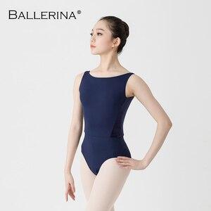 Image 2 - Femmes Ballet danse justaucorps Adulto dos ouvert danse costume yoga gymnastique sans manches noir justaucorps ballerine 2505