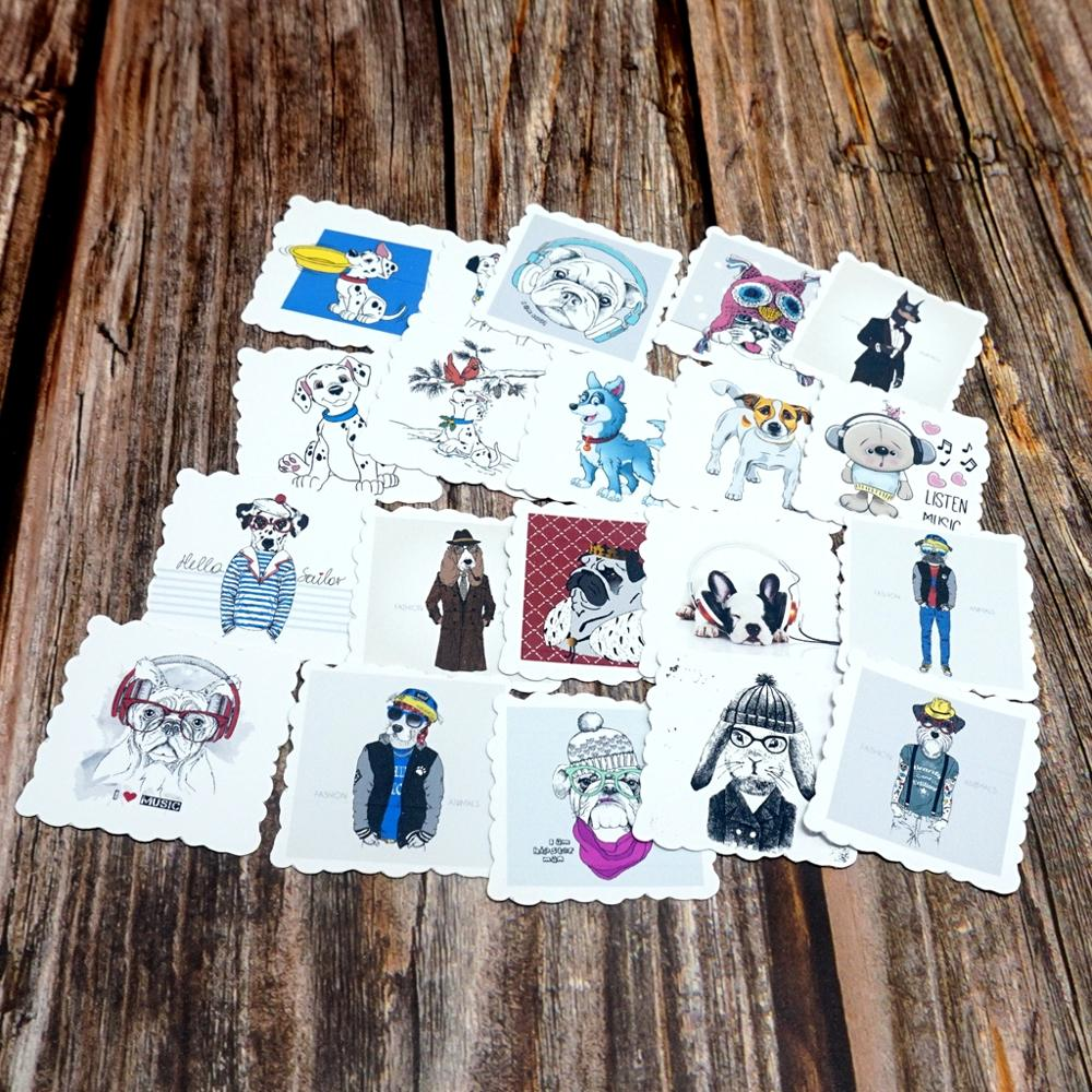 22PCS Cartoon Waterproof Stickers Scrapbook Decoration Stationery DIY Stickers School Office Supply Cute Dogs Toy Gift Stickers
