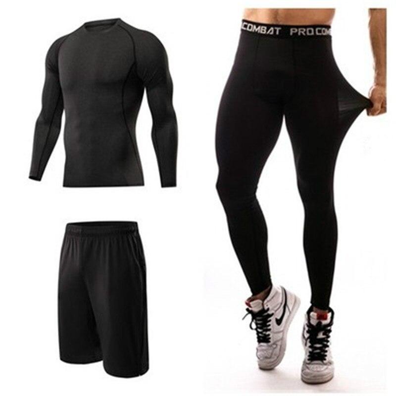 Men Sports Suit Compression Tshirt Legging Quick Dry Running Jogging Gym Fitness Trained Sport Suit MMA Men Sportswear 3 Pce/Set
