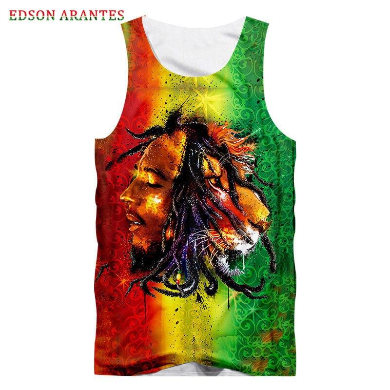 Camisetas sin mangas graciosas Bob Marley hombres coloridas 3D Hippie Reggae cantante cabeza de león estampado Unisex camisetas de gimnasio chaleco sin mangas S-6XL personalizado Tanque Floral para bebés y niñas que combina con el vestido, diadema con botón de verano sin mangas, vestido de verano, ropa de niña pequeña