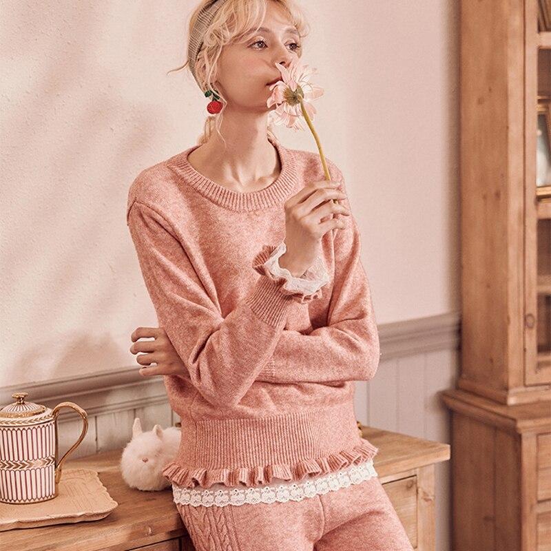 Autumn Winter Knitted Sweater Twist Casual Pajamas Women Gray/Pink Warmed Homewpijamaear Suit Ladies