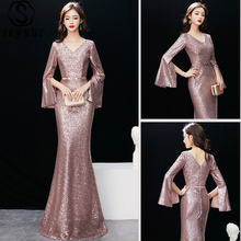 Skyyue eveing платья с блестками длинным рукавом на молнии Русалочка