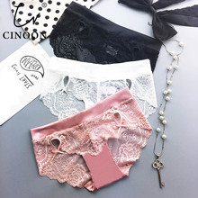 CINOON Hot Sale Satin Panties Sexy Lace Transparent Briefs Brand Comfo