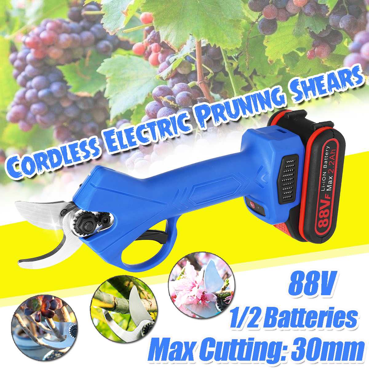 88V Cordless Electric Pruning Shears 30mm Max Cutting Pruner with 1 2 Lithium-ion Battery Garden Branches Cutter EU Plug