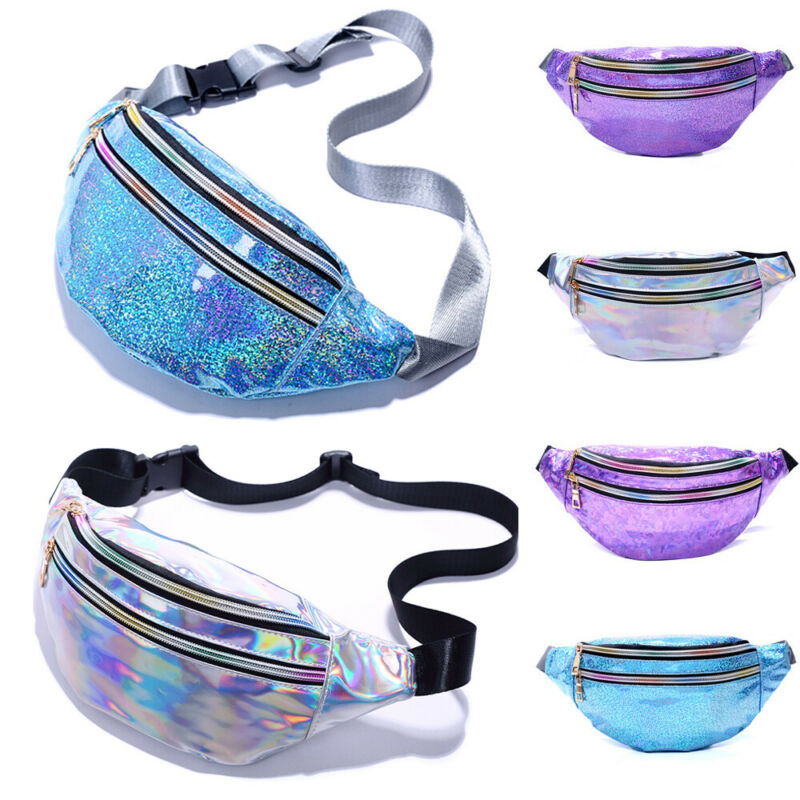 2020 NEW Women's Waist Bag Hip Hop Laser PU Leather Sequin Chest Bag Waterproof Fashion Fanny Pack