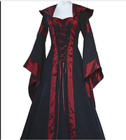 2019 Brand Cosplay Halloween Costumes Scary Vampire Witch Costume For Women Medieval Victorian Costume Black Elegant Maxi Dress