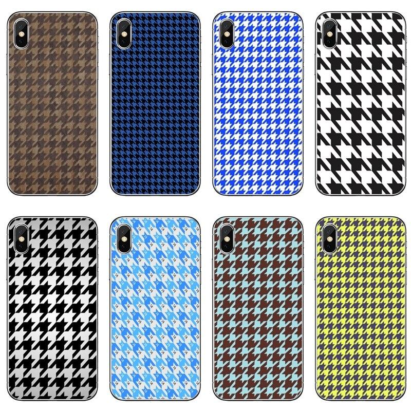 Coque pied-de-poule de luxe, étui pour iPhone 11 pro XR X XS Max 8 7 6s plus SE 5s 5c iPod Touch 5 6