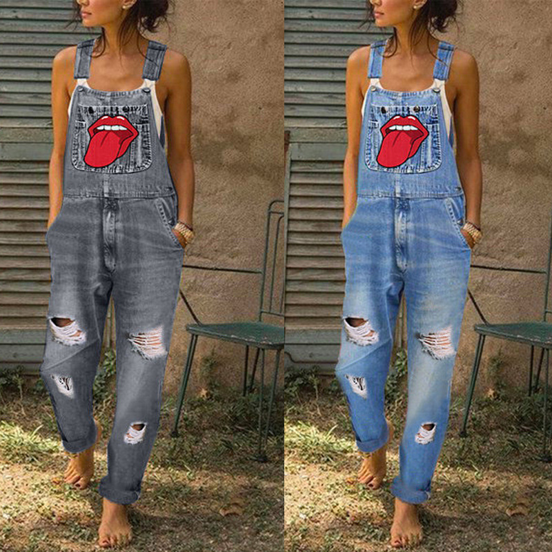 Women Fashion Lips Tongue Graphic Print Overalls Plus Size 4XL 5XL Sexy Sleeveless Romper Loose Adjust Dungarees Denim Jumpsuit