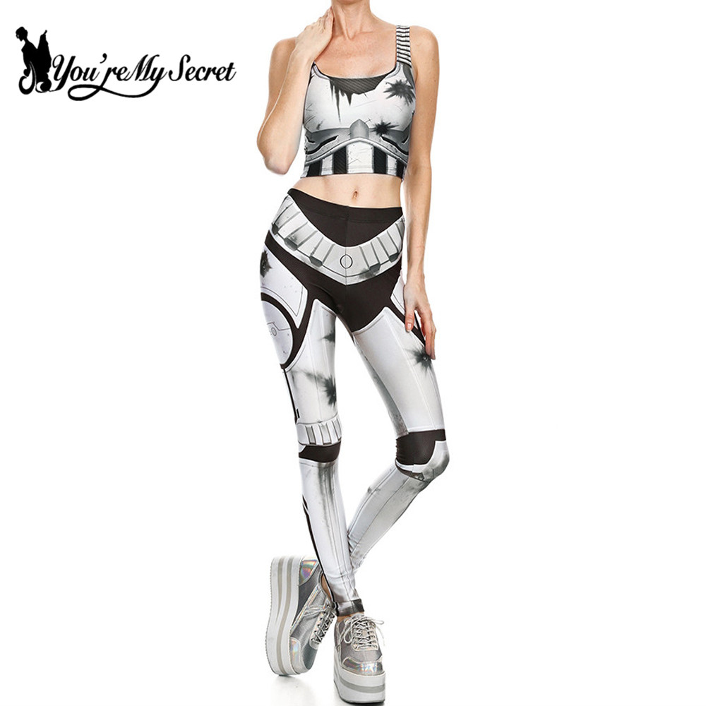 [You're My Secret] 2019 Star Wars Cosplay Costume For Women Wonder Captain America Deadpool Woman Croped Tops Leggings Sets