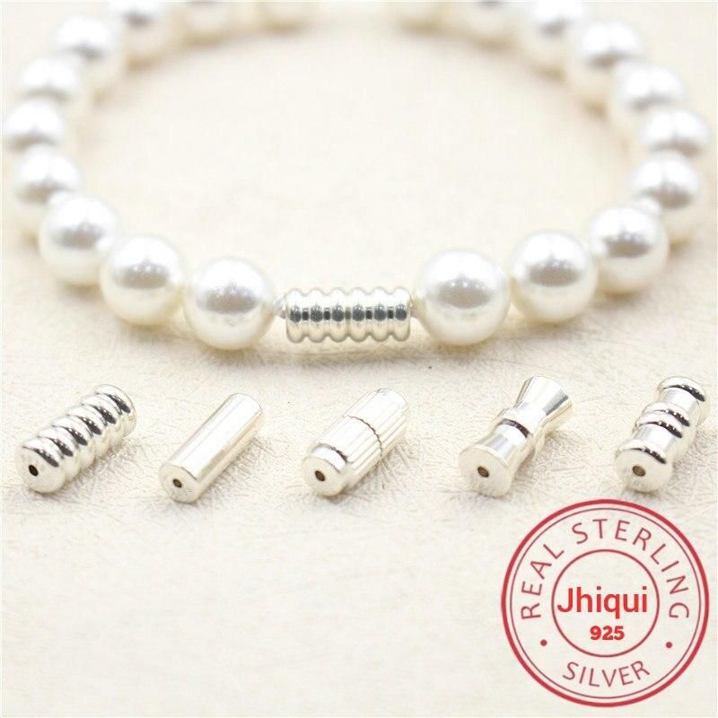 Застежка-молния с винтом, из настоящего серебра 925 пробы, для браслета «сделай сам», жемчужное ожерелье, ювелирные изделия