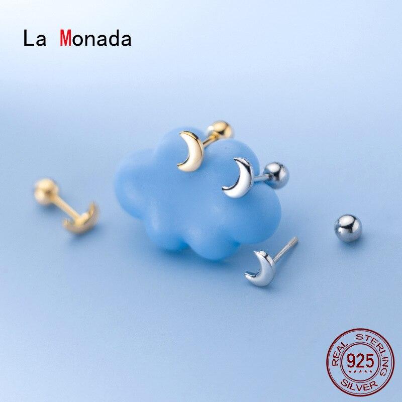 Ла Monada 925 стерлингового серебра серьги гвоздики в минималистском стиле красивая луна серьги-гвоздики, серьги для женщин, серебро 925 тонкой в ...