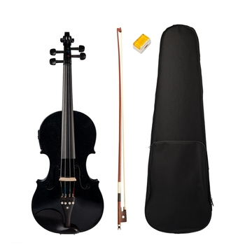 4/4 Full-Size Violin Violin Sound and Electric Violin Solid Wood Body Ebony Accessories High Quality Black Electric Violin 1 4 violin scrub violin student violin set violin beginner natural color violin use