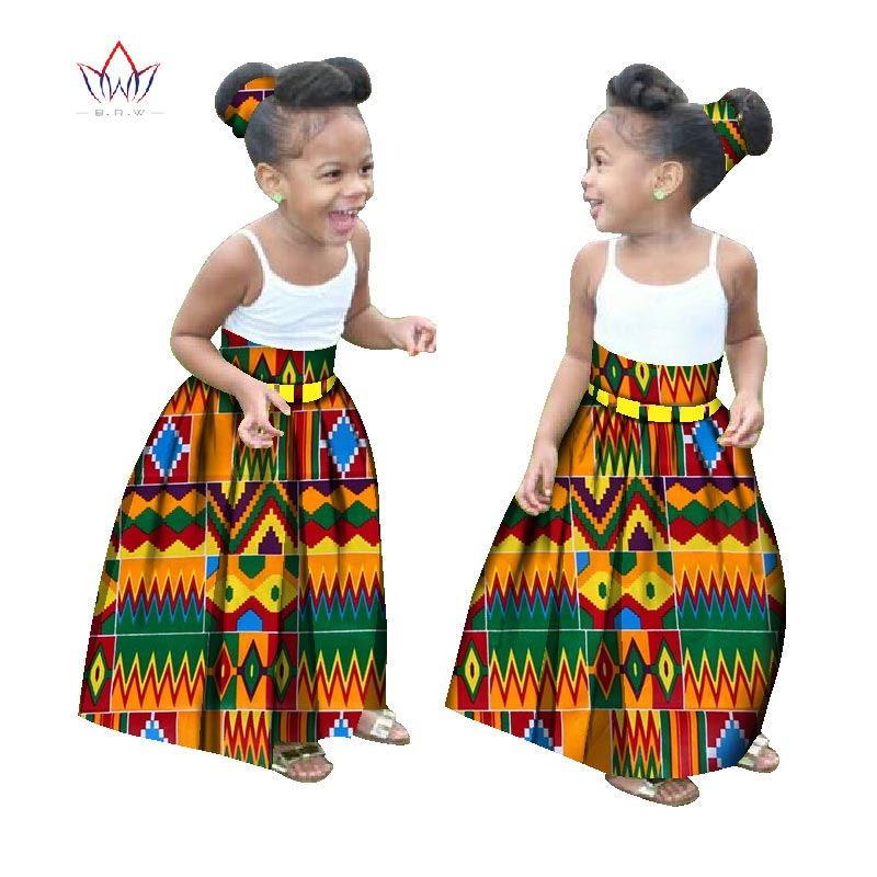 Summer Children African Clothes Customized Girl Fashion Long Skirt African Dashiki Print Clothing Girl Skirt Causal Party WYT34