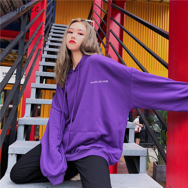 Hoodies Women Oversize Purple Big Pockets Hooded Harajuku BF Korean Style Student Streetwear Letter Printed Womens Pullovers New